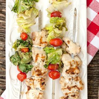 Chicken Caesar Salad Kebabs.