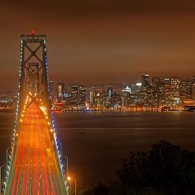 As the fog arrives by Claus Dahm - City,  Street & Park  Skylines ( skyline, california, night, bay area, bay bridge, san francisco,  )