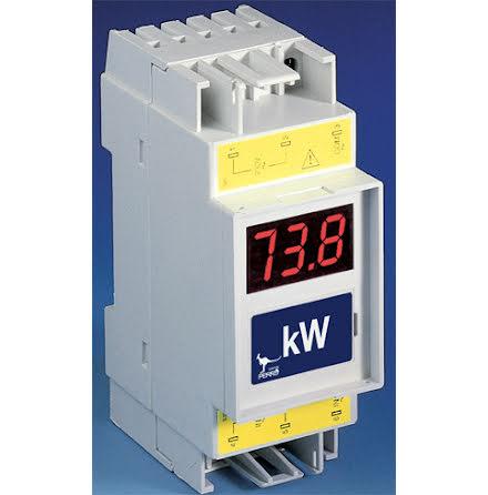 Wattmätare, digital, 3-siffrig, 2 moduler