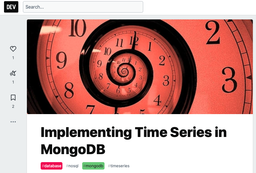 Post on dev.to about how to implement time series in MongoDB.