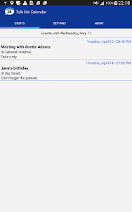 Talking Calendar Reminder app- screenshot thumbnail