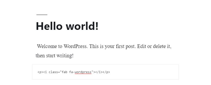 código html inserido para gerar ícone na página