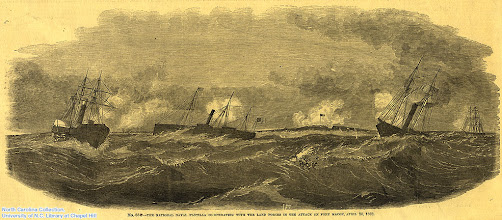 """Photo: """"The National naval flotilla co-operating with the land forces in the attack on Fort Macon, April 20, 1862."""" Source unknown."""