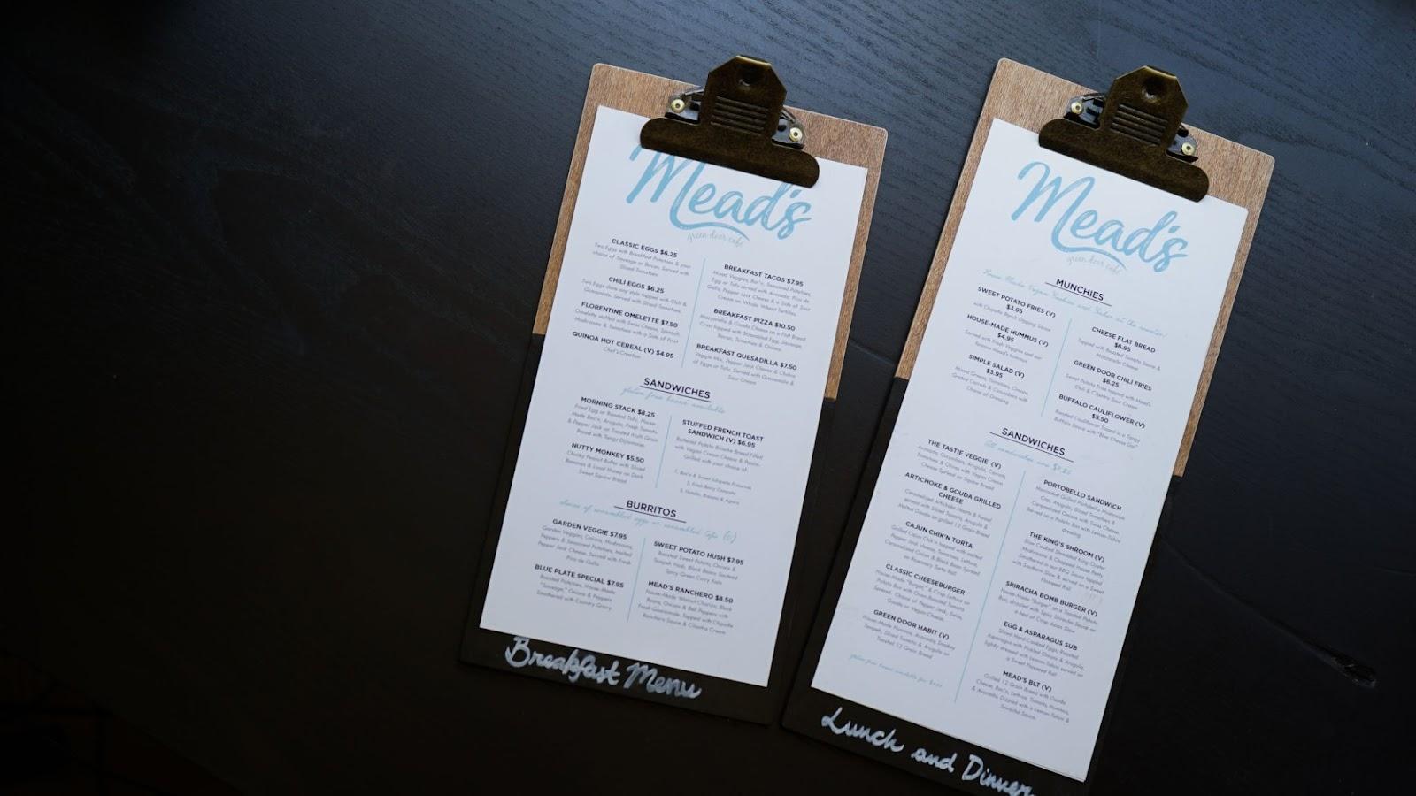 Print menus on clipboards