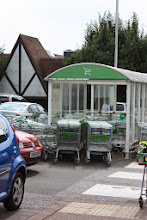 Photo: The trolley collection areas of the car park were overflowing and beginning to block the road.