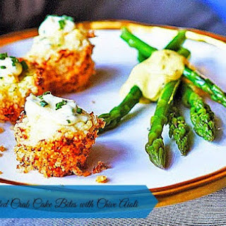 Parmesan Crusted Crab Cake Bites With Chive Aioli.