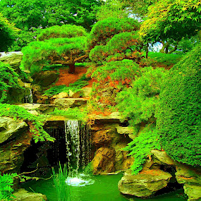 Japanese Garden... by Morris Kleyman - Landscapes Caves & Formations ( waterfalls, colors, places, landscapes, formations...,  )