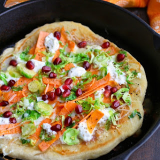 Skillet Pizza with Sweet Potatoes, Brussels Sprouts, and Ricotta