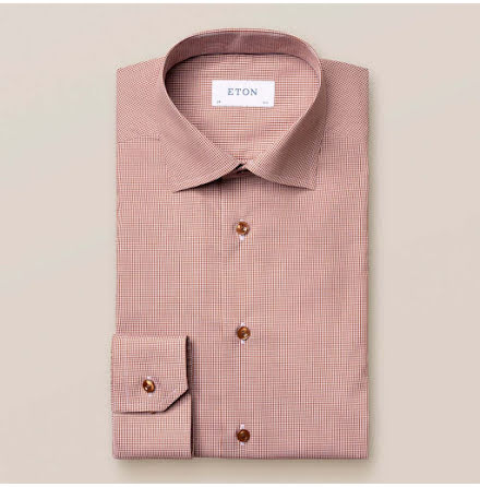 ETON Brown mini gingham poplin contemporary fit