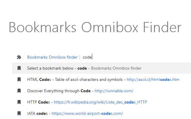 Bookmarks Omnibox finder