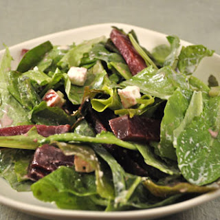 Salad with Pickled Beets and Feta Cheese.