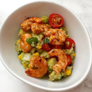 Warm Quinoa and Avocado Salad with Chili-Lime Shrimp