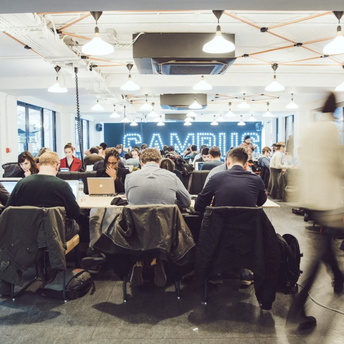 group working on laptops, Campus London, Google for Startups
