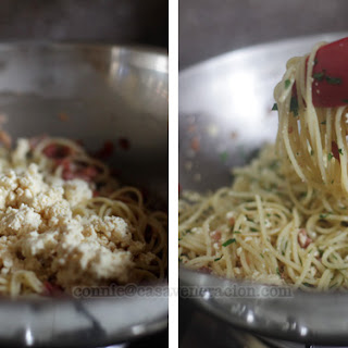 Spaghetti With Bacon And Ricotta.