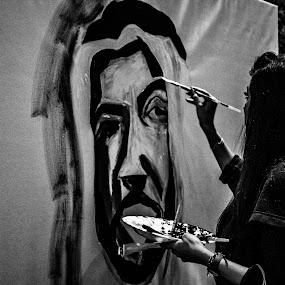 The Painter by Ebtesam Elias - Black & White Portraits & People