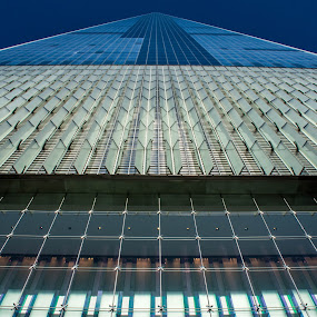 Looking Up by Thomas Shaw - Buildings & Architecture Architectural Detail ( building, vent, trade center, manhattan, downtown new york, nyc, new york, one world trade center, photography, city, skyscraper, blue, glass, new york city, downtown )