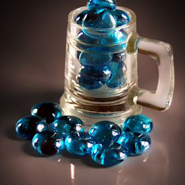 Blue Stones In Clear Glass Mug by Robin Amaral - Artistic Objects Glass ( stilllife, translucent, glass, grey tone, marbles, gradient, shadows, collection, turquoise, mug )