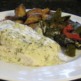 Halibut With Creamy Dill Sauce.