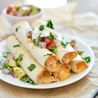 Chipotle Cheese Slow Cooker Chicken Taquitos.