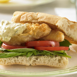 Beer Battered Fish Burger with Tartar Sauce.