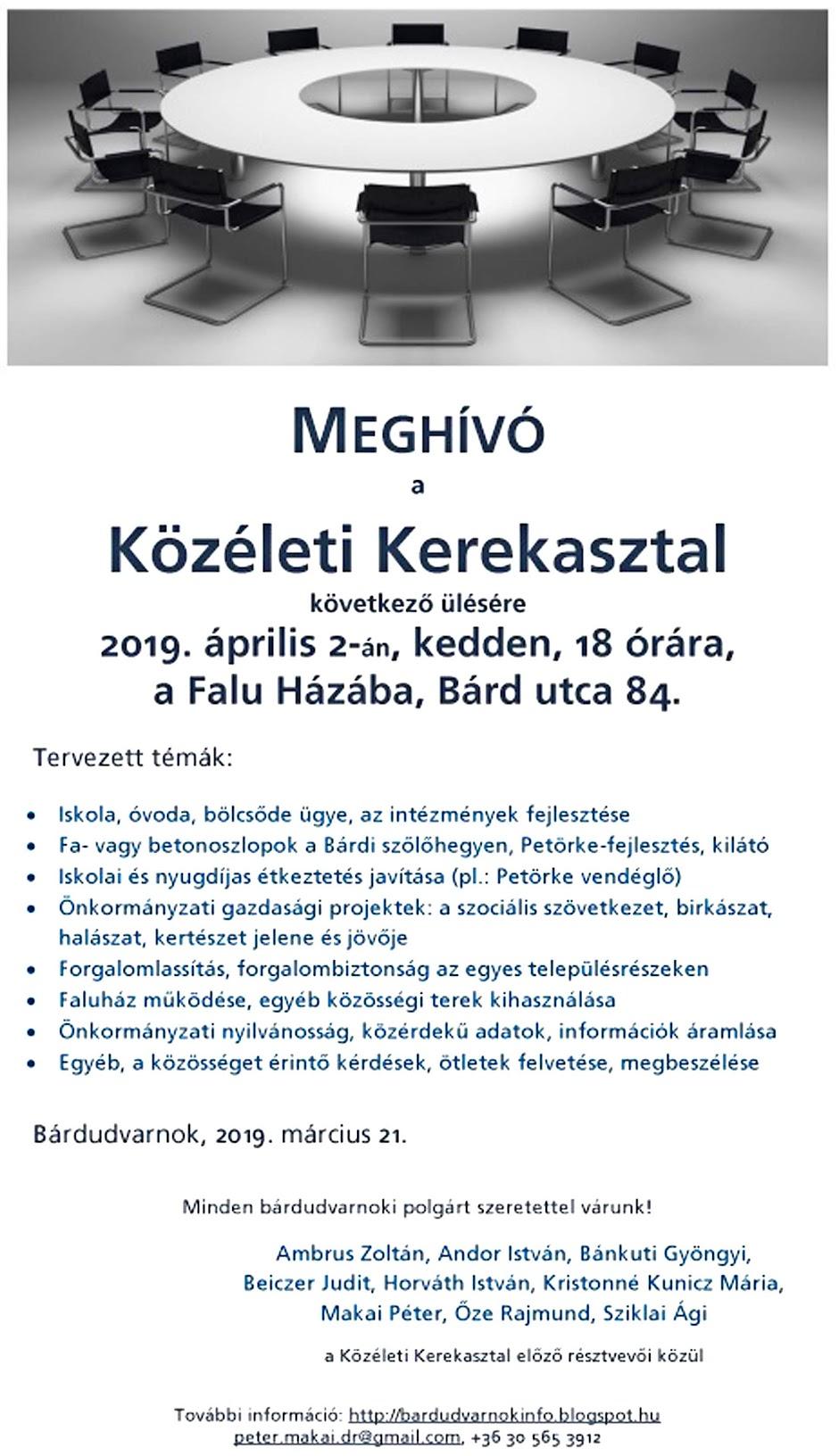 Közéleti Kerekasztal 2019.04.02