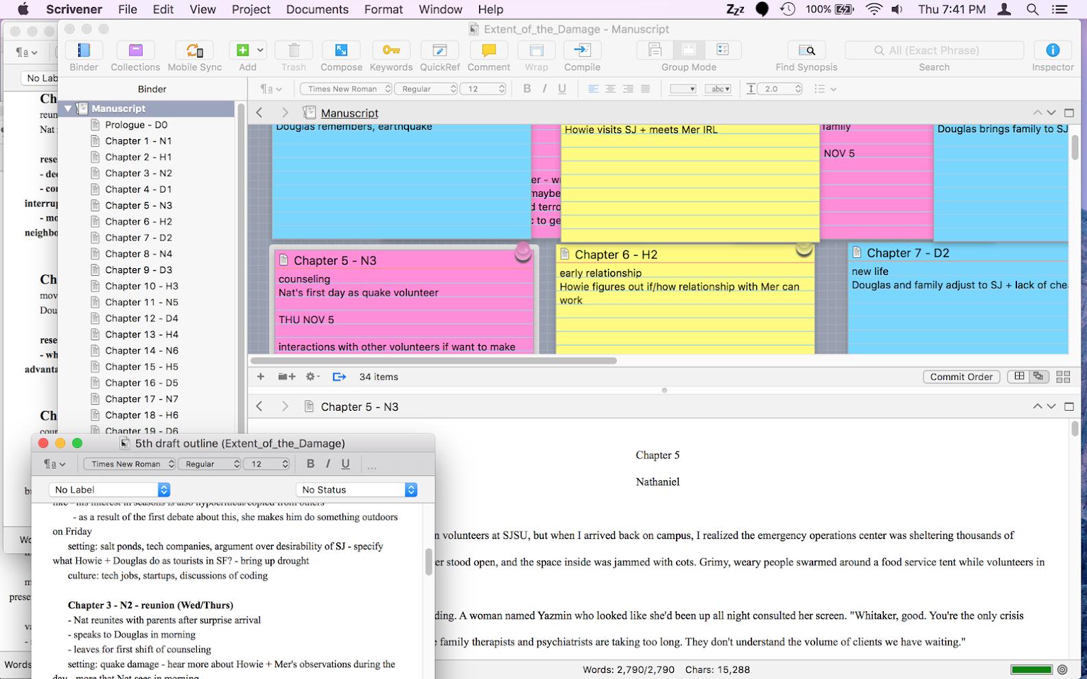 revision planning in Scrivener