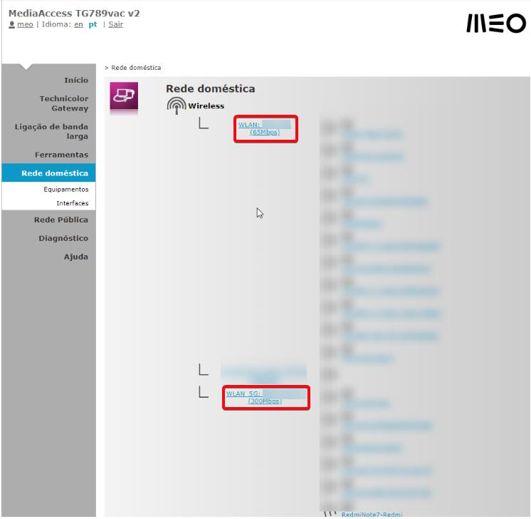 MEO Technicolor TG789vac clique na rede WLAN ou WLAN 5G para configurar