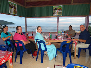 Photo: Dinner by the sea after the first day of teaching at the conference before we headed out to the mountains for the evening village service.