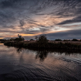 Broadland sunset by David Feuerhelm - Landscapes Sunsets & Sunrises ( reflections, sunset, windmill, clouds, water, landscape )