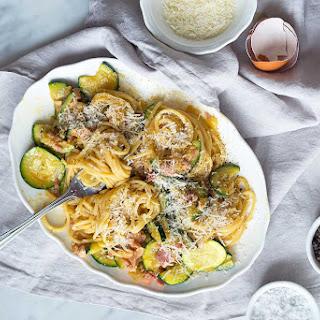 Spaghetti alla Carbonara with Courgettes.