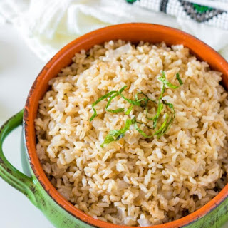 Instant Pot Garlic Brown Rice.