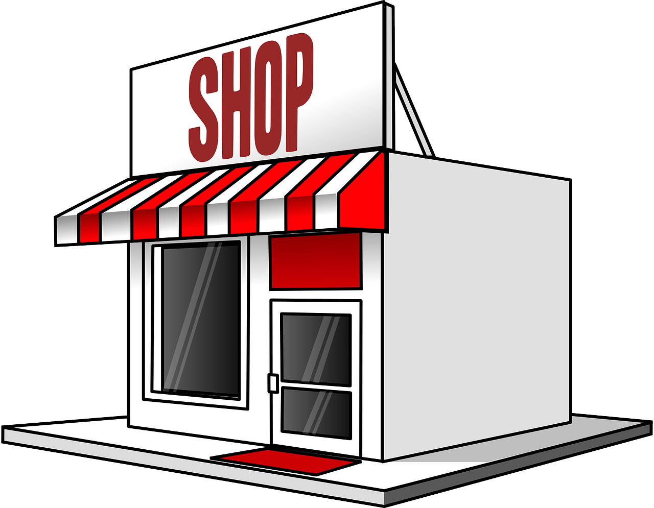 """A red and white store with the sign """"Shop"""" on top"""