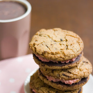 Not-actually-superfood cookie sandwiches (Chocolate chip cocoa nib cookie sandwiches with chocolate raspberry ganache and raspberry mousse)