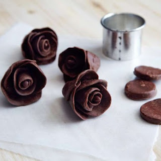 Dark Chocolate Taffy Flowers.