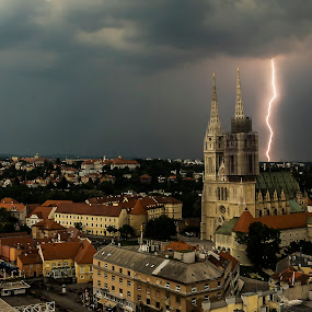 Lightning by Iva Marinić - City,  Street & Park  Vistas ( sky, cityscape, clouds, lightni, cathedral, photography,  )
