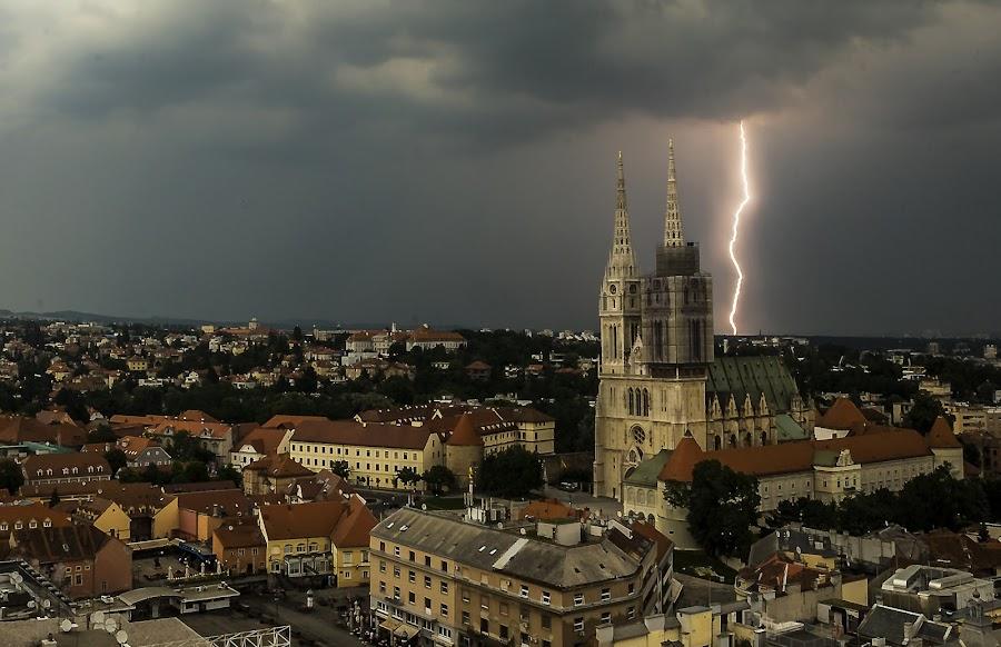 Lightning by Iva Marinić - City,  Street & Park  Vistas ( sky, cityscape, clouds, lightni, cathedral, photography,  )