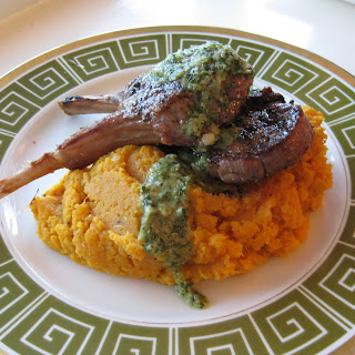Grilled Lamb Chops with Green Garlic Chimichurri and Mashed Sweet Potatoes.