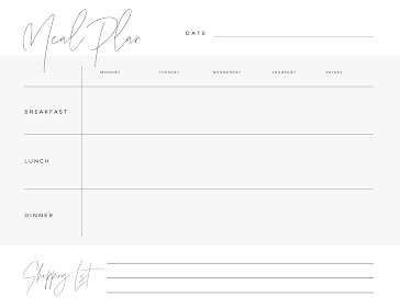 Meal Plan & Shopping - Weekly Planner template