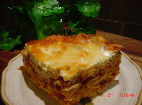 This Is An Image Of Sharon's Recipe For Ziti Or Mostaccioli.  I Made Mostaccioli.  Awesome Recipe, Sharon!