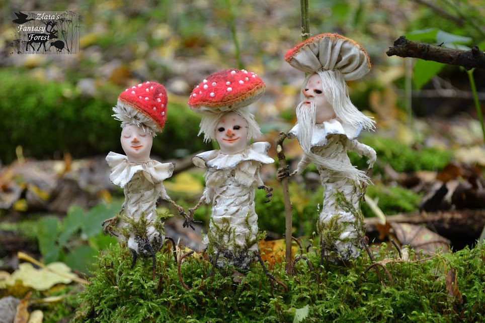 Gnomes Mushrooms handmade dolls