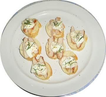 Rosemary chicken fingers on bruschetta