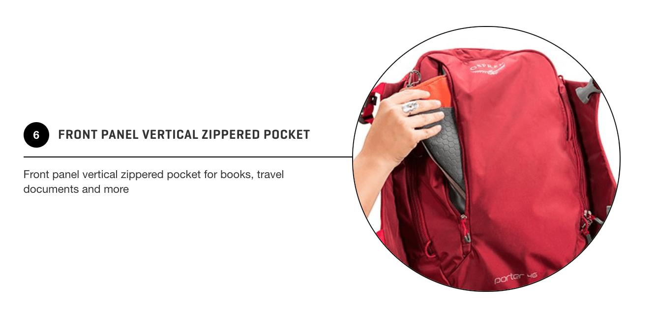 Osprey Porter 46 Front Zippered Pockets
