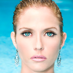 Angie in Pool by Alabama Photos - People Portraits of Women ( glamour, headshot, blue, pool, beauty, eyes )