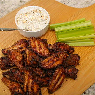 Smoked Wings with Bleu Cheese Dip - by Kate Stuart.