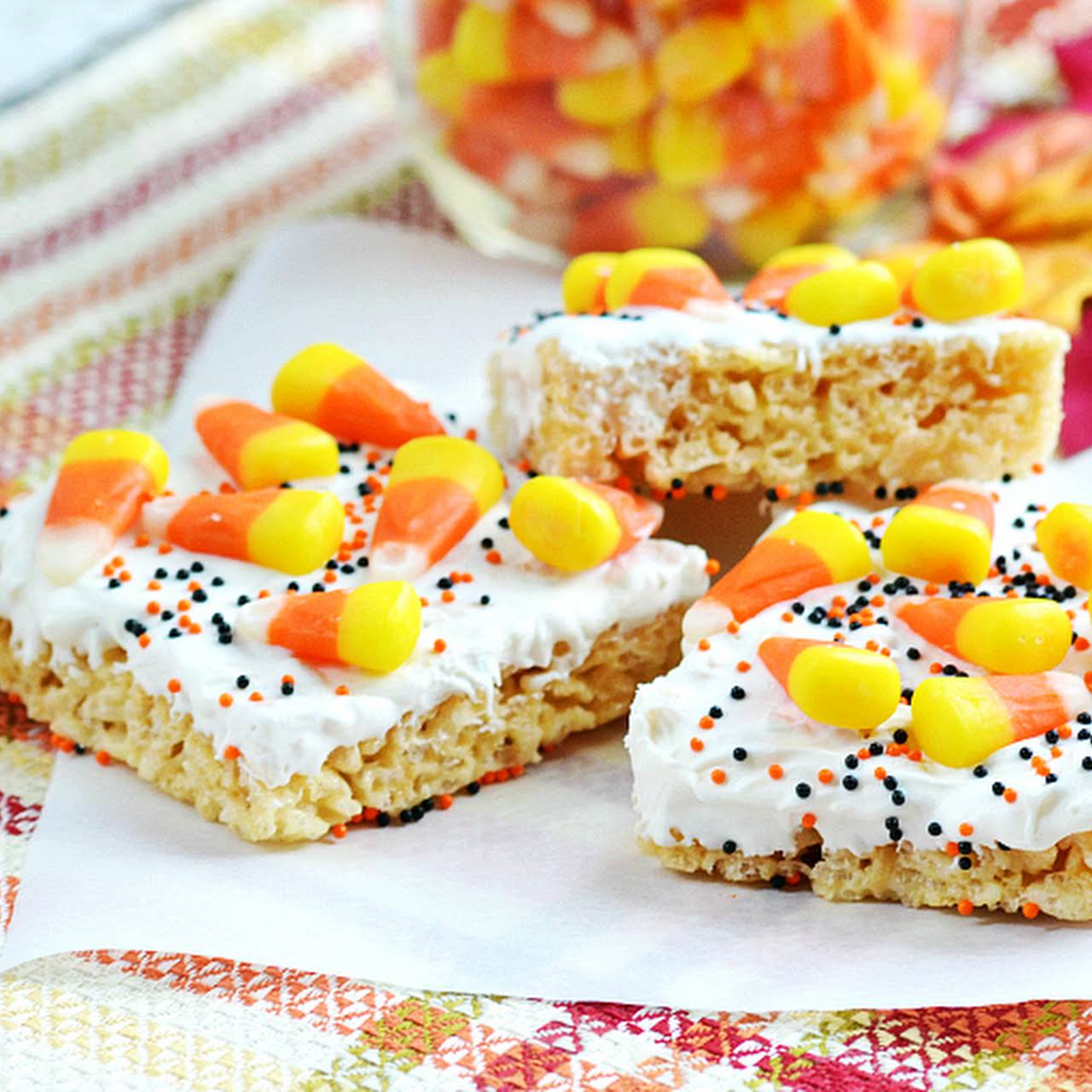 Candy Corn Krispies Treats