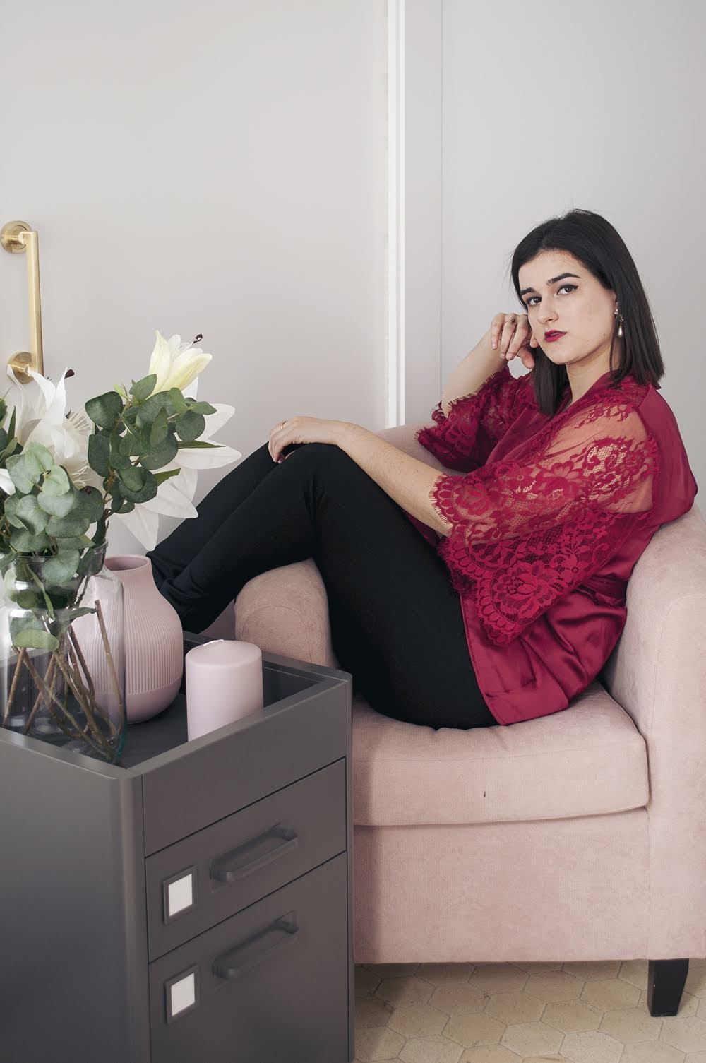 hunkemöller spain blogger somethingfashion, amanda ramon kimono, red satin lace valentine's day outfit idea, gifts lingerie, valenciabloggers