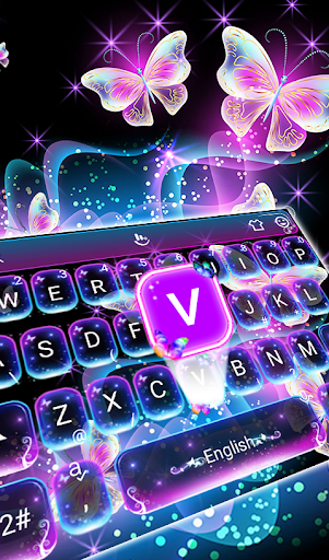 Colorful Glitter Neon Butterfly Keyboard Theme 6.2.27.2019 gameplay | AndroidFC 1