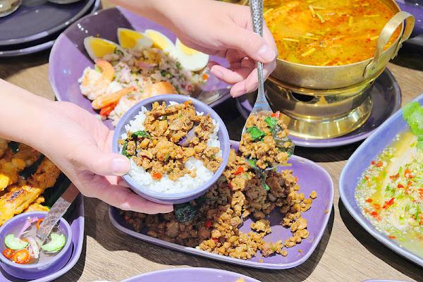 NARA Thai Cuisine│中友百貨:連續多年泰國票選最佳泰國料理餐廳 台中也吃得到!沙嗲串燒 咖哩牛肉 檸檬魚 月亮蝦餅到視覺系藍色花香飯菜色超多豐盛上桌!
