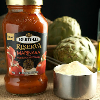 Pici Pasta with Bertolli Marinara and Steamed Artichokes