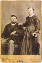 Photo: Reuben Wohlford SNOOK and probably his second wife, Elizabeth NEARHOOD.  The date written on this photo has to be incorrect, as this family wasn't in Montana until the 1880s.  This is my husband's 3rd-great-grandfather.  Scan of an original photo in the possession of Troy Midkiff, Vancouver, Washington, 2007.